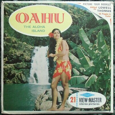 3 View-Master 3D Bildscheiben - Hawaii | Oahu - The Aloha Island  + Booklet