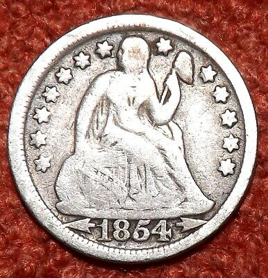 1854 USA .900 Silver Seated Liberty Dime -  Collect / Filler Grade & Detail