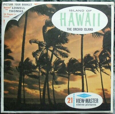 3 View-Master 3D Bildscheiben - Island Of Hawaii | The Orchid Island + Booklet