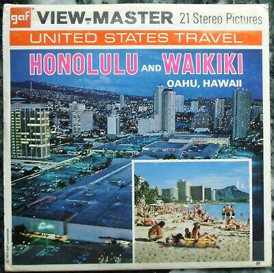 3 View-Master 3D Bildscheiben - Hawaii | Honolulu And Waikiki + Booklet