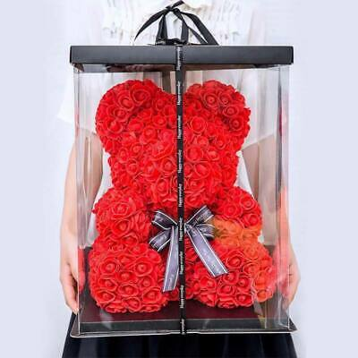 23cm Red Rose Bear Flowers Wedding Decoration Birthday Valentine's Day Cute Gift