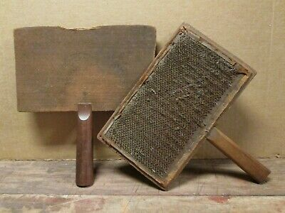 The Only Genuine OLD WHITTERMORE IMPROVED No. 9 WOOL CARDING PADDLES, Antique