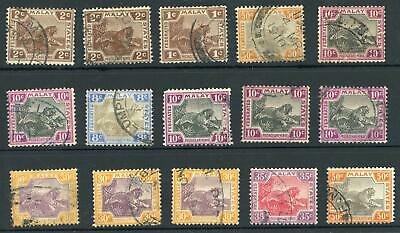 Federated Malay States 1922-34 Selection of 15 Used Stamps SG 54/74 Cat £228+