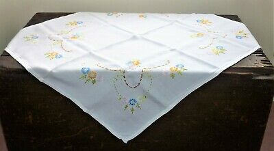 Antique/vintage 1930's-40's English Hand Embroidered 'flowers' Tablecloth