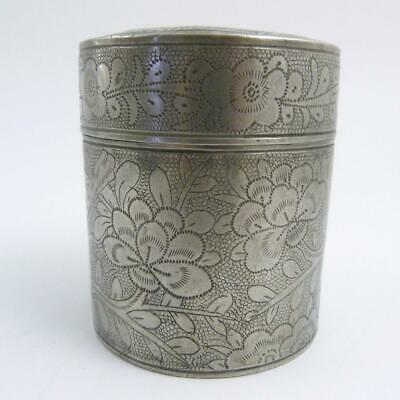 19Th Century Chinese Engraved Pewter Tea Caddy, Kut Hing Swatow Pewter Mark