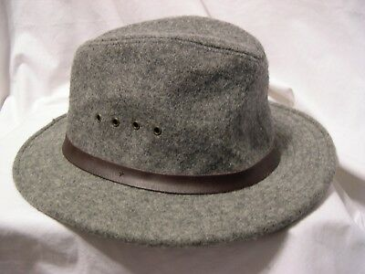 vintage Filson Wool Packer Hat fedora Mens M medium USA Made Charcoal Grey 61465beb7