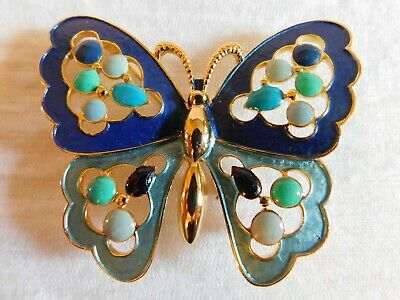 """Vintage Blue Enamel And Gold Large Butterfly 2 1/2""""  Brooch Pin Mint"""