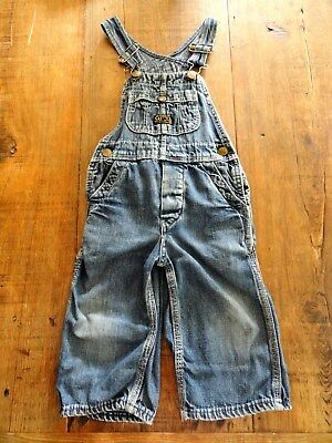 "VTG 50's Sanforized Kids Denim Bib Overalls Sz 22"" Waist X 9"" Inseam"