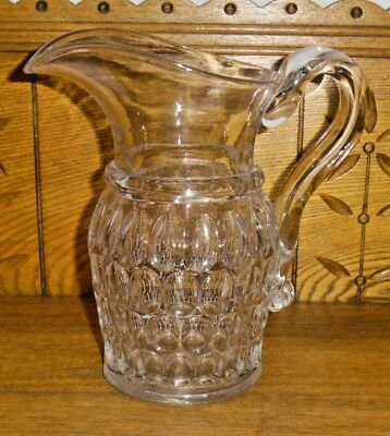 Antique Thumbprint / Dot Glass Pitcher - 8 1/4""