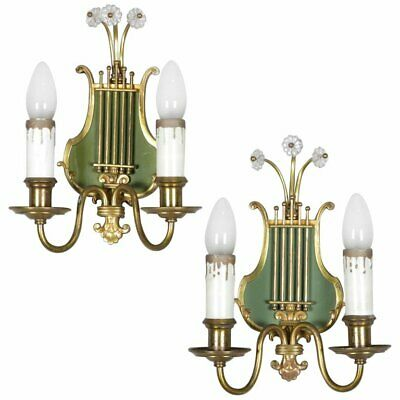 Vintage Pair of Federal Style Brass Lyre Form 2-Light Wall Sconces