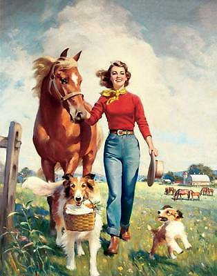 Lady, Horse Collie and Puppy by Frederick Brunner