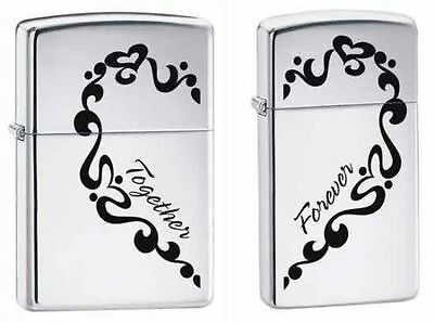 "Zippo 0465, ""Together Forever"" 2 Piece Set Lighters, His & Hers, Chrome"