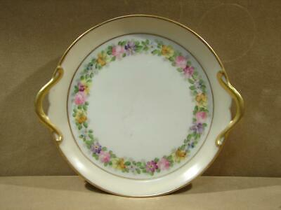 Vintage Hand Painted Gold Trim 2 Handle Signed Dish