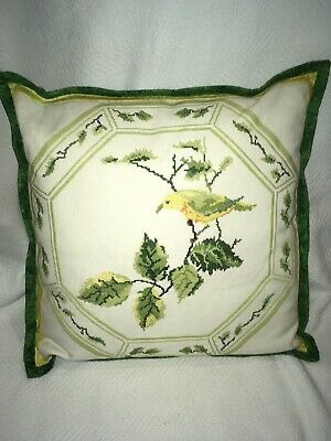 Vintage Cross Stitch Needlepoint Yellow Bird and Green Leaves Throw Pillow