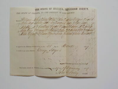 Antique Document 1859 Sheriff Indiana Jefferson County Legal Paper Legal VTG