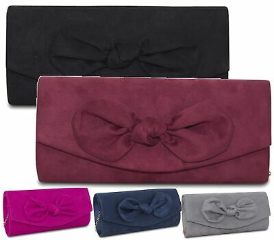 3df1907371 Faux Suede Medium Evening Bag Women Knot Clutch Ladies Prom Party's New Look