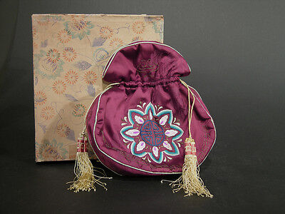 Early 20th C Chinese Silk Drawstring Purse Scent Pouch Original Box Embroidered