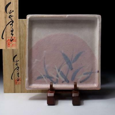 JL1: Japanese Tea plate, Shino ware Great Human Cultural Treasure, Hidetake Ando