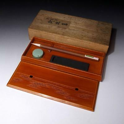 JC8: Japanese Wooden Writing Box with Calligraphy tools, Shunkei Lacquer Ware