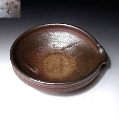 KC2: Vintage Japanese pottery Tea plate, Bizen ware, Tea ceremony