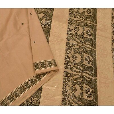 Sanskriti Vintage Cream Saree Pure Silk Baluchari Woven Craft Fabric 5 Yd Sari