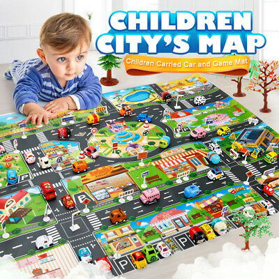 Kids Children's Rugs Town Road Map City Cars Toy Rug Play Village 130*100cm Mat