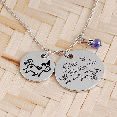 Women Fashion Unicorn And Lettering Pendant Necklace Silver Color Jewelry DP