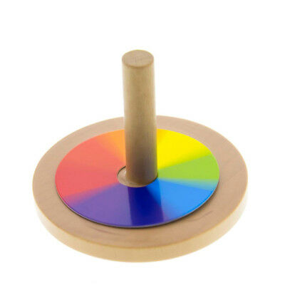 Wooden Gyro Spinning Top Peg-Top Cartoon Multi color Kids Educational Toy DP