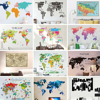 Classic Colorful World Map Removable Vinyl Decal Kids Bedroom Decor Wall Sticker
