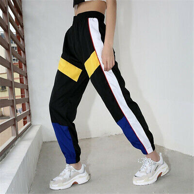 Women Spring Loose Casual Pants Stitching Hit Color High Waist Harem Trousers B