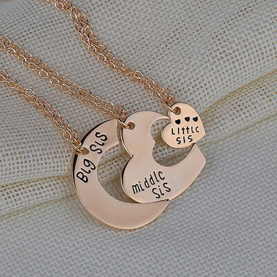 3pcs Heart Big Middle Little Sister  Necklace Love Best Friends Family Gift FG