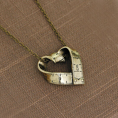 Tape Measure Love Heart Sewing Silver Tone Sewer Sewing Lover Necklace FG