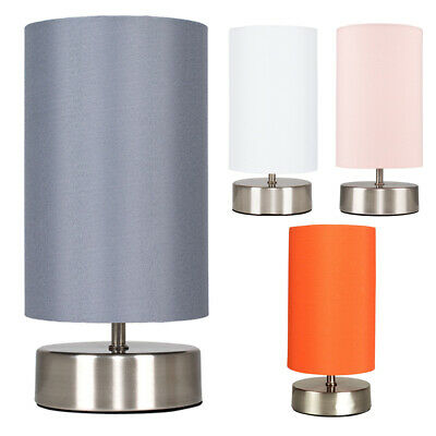 Modern Touch Table Lamps Chrome Base Fabric Light Shades LED Bulb Home Lighting