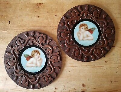 Antique Pair Victorian Cherub Flue Covers Arts & Crafts Carved Oak Picture Frame