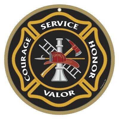 """Firefighters 10"""" Round Commemorative Plaque Sign"""