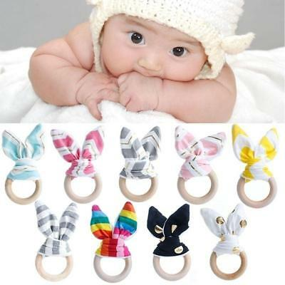 Wooden Natural Baby Teether Bunny Ears Teething Toy Ring Gift Baby Easter GG