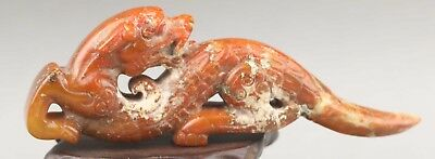 Chinese old natural jade hand-carved dragon pendant 3.9 inch