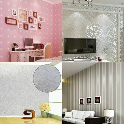 10M Luxury Embossed Wallpaper Roll Silver / Grey / Pink Design Wall Stickers X 1