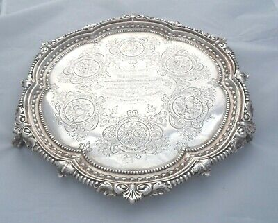 LARGE VICTORIAN SILVER SALVER SHEFFIELD 1867 Martin Hall & Co 860g