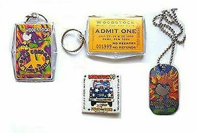 Woodstock 1999 99 Concert 5 Pc Keychains Necklace Lanyard Gift Set New Official