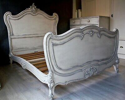 painted french double bed shabby chic chateau rococo off white grey