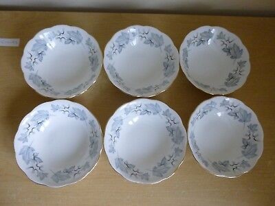 6 Royal Albert Silver Maple 6.25 inch Cereal/Dessert Bowls - 1st Quality