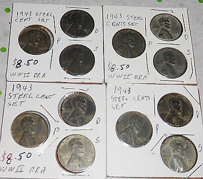 Original Lot of 12 Wartime WW2 WWII 1943 P D S Steel Lincoln Wheat Cent Coin Set