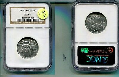 2004 $25 Platinum American Eagle 1/4 Ounce Coin Ngc Ms69 7138J