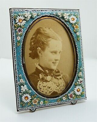 Superb Antique c1900 Italian Micromosaic Floral Daisy Picture Frame