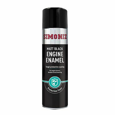 Simoniz Matt Black Car / Vehicle Engine Enamel Paint - 500ml Aerosol - SIMVHT30D