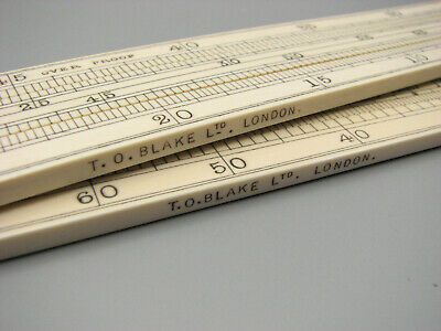 Superb pair of antique bone proof rules signed T O Blake London