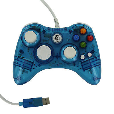 Zedlabz Compatible Wired Colour Glow USB Controller for Xbox 360 Slim - Blue