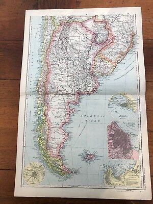 1900s double page map from g.w. bacon - south america ! south