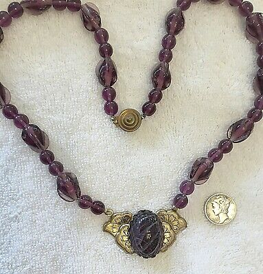 Vintage Egyptian Revival Glass Beads & Jewels Scarab Necklace Only One